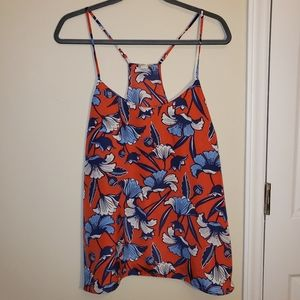 J. Crew Floral Racer Back Tank Top Red Blue 14